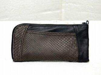 ハーフラウンド型 長財布(茶蛇革ツヤあり)の画像