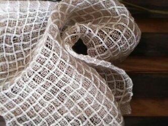 手織りリネンワッフル織りハンカチ~白の画像