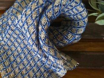 手織りリネンワッフル織りハンカチ~青の画像