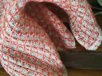 手織りリネンワッフル織りハンカチ~赤の画像