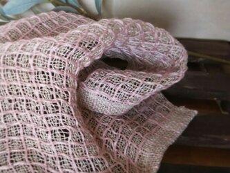 手織りリネンワッフル織りハンカチ~ピンクの画像
