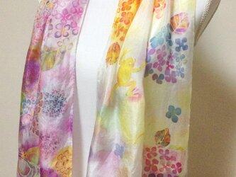 手染めシルクストール 紫陽花と仲間たちの画像