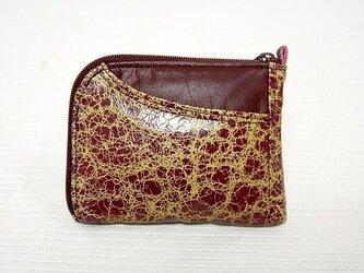 ハーフラウンド型 半財布(クラック赤金)の画像