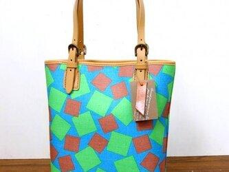 ヴィンテージファブリックのレトロなトートバッグ [Origami Green]の画像