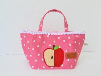 目立つ可愛さ♪アップルル~なミニトートバッグの画像