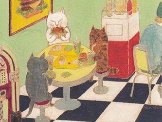 カマノレイコ オリジナル猫ポストカード「ダイナー」2枚セットの画像