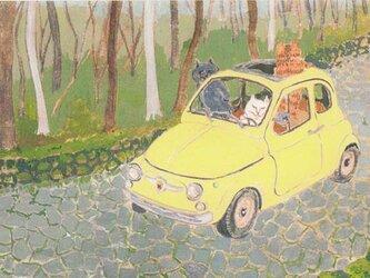 カマノレイコ オリジナル猫ポストカード「高原ドライブ」2枚セットの画像