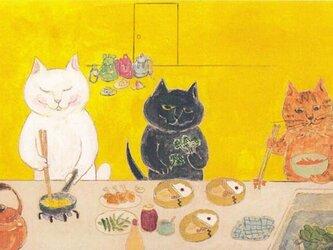 カマノレイコ オリジナル猫ポストカード「おべんとうづくり」2枚セットの画像
