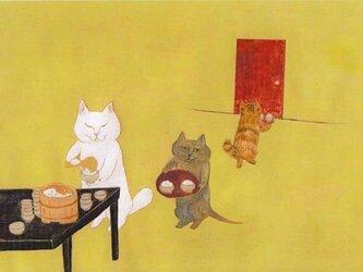 値下げ・カマノレイコ オリジナル猫ポストカード「ごはん」3枚セットの画像