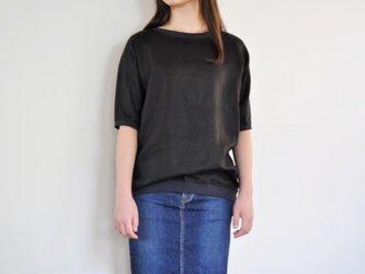 リブ付リネンラグランスリーブTシャツ<ブラック>の画像