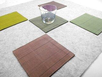 絹のコースター・5色セット(ストライプ)の画像