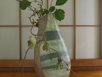 【送料無料】花器 焼締め縞模様 窯変花生け 陶芸家オリジナル陶器(59)の画像