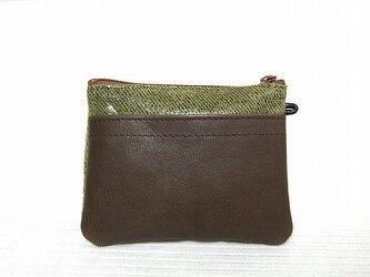 角型財布(柄豚革×茶牛革)の画像
