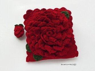 薔薇の角型ポーチの画像