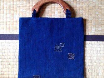 藍染めと久留米絣 あそびパッチワークバッグの画像
