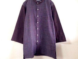 久留米絣のスタンドカラーシャツ メンズサイズの画像
