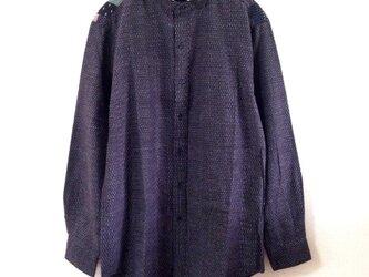 久留米絣の肩パッチワークシャツ メンズサイズの画像