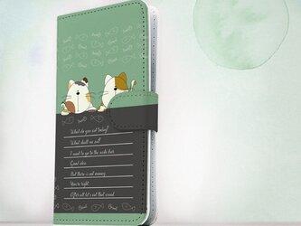全機種対応 手帳型 スマホケース iPhoneXs iPhone9 iPhoneXs MaxiPhoneX 猫 2匹の猫の会話の画像