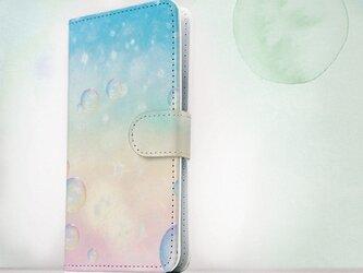 全機種対応 手帳型 スマホケース iPhoneXs iPhone9 iPhoneXs Max水玉 幻想的なしゃぼん玉の画像