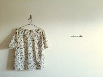 森プリントの後ろ結び綿ローンTシャツ*の画像
