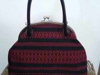 博多織名古屋帯・がま口バッグ・赤と黒の画像