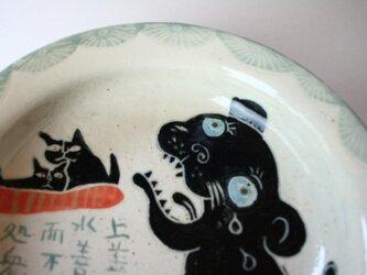 上善如水と猫の皿 /陶器 /可愛い子ども食器 /陶芸家 / キッズ食器 /potteryの画像