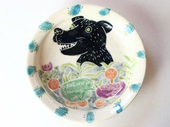 熊と花の皿/陶器/可愛い子ども食器/ 陶芸家/ キッズ食器 / potteryの画像
