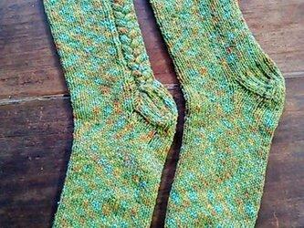 夏糸・手編み靴下♪ソックス・冷房対策にも(グリーンxオレンジ系)三つ編み模様入りの画像