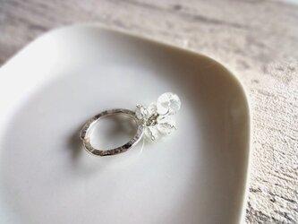 硝子の蜻蛉玉■アラカルト水晶×ハンマー加工のシルバーリング フリーサイズの画像