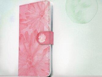 全機種対応 手帳型 スマホケース iPhoneXs iPhone9 iPhoneXs Max花柄 ウォーターフラワー ピンクの画像