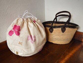 かごバッグインナー巾着 ピンクフラワーの画像