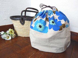 バッグインバッグ巾着 ブルーフラワーの画像