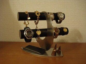 三日月ブラックロングトレイ、リングスタンド腕時計スタンドの画像