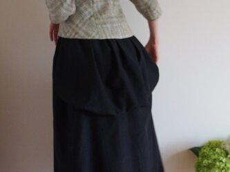 エレガントバッスルスカート Debora シルクコットン黒の画像