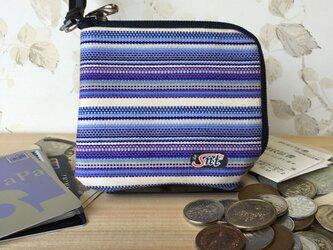 オシャレで機能的!旅に便利な、カード・お札・コイン用 先染め帆布財布 紫の画像