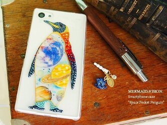 宇宙ポケットペンギン-良宵愛星家- スワロフスキーデコアートiPhone5/5sケースカバーの画像