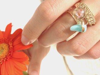 いばらring (silver 925 製、10金メッキ ) Gold / Pink flowerの画像