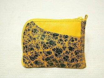 ハーフラウンド型 半財布(クラック黄×緑)の画像
