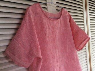 受注製作~ザブザブ洗えるリネンシャンブレーの布帛Tシャツの画像