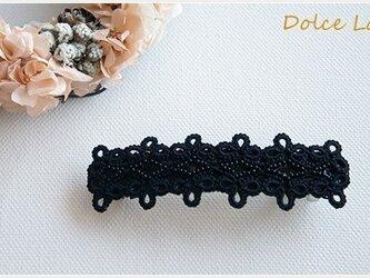 手編みタティングレースのバレッタ*Black×Black*Lサイズの画像