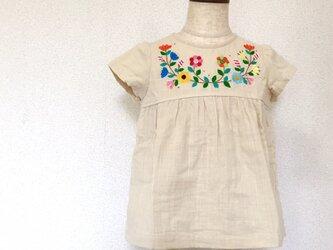 刺繍チュニックワンピース 生成りにぎやか刺繍 size90㎝の画像