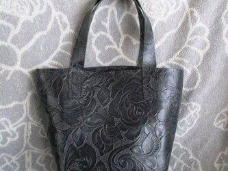 【新作】手縫い カービング調 ミニトートバッグの画像
