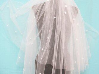 ビーズ玉付小花刺繍パーツ ホワイトカラーショートベールー704の画像