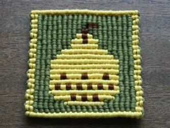 漂白剤が使えるマクラメ編み 洋梨コースター(黄色)の画像