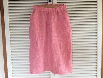 受注製作~上質リネンのセミタイトスカート~少し裾つぼまりの画像