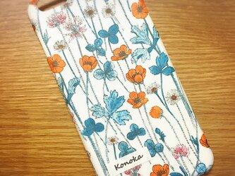 iPhone全機種/各種スマホ対応 名入れできます♡リバティ ジョセフィンズ・ガーデン/オレンジ カバーの画像