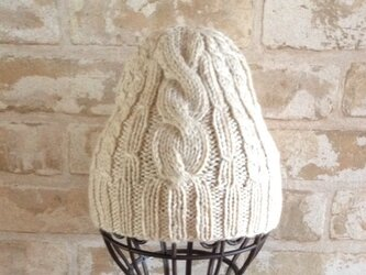 【受注後製作】秋冬向きニット帽アルパカ×ラムウール ベージュ系(折り返しなし) の画像