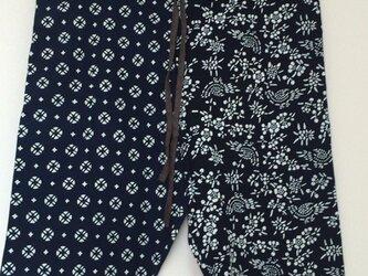 藍染印花布 ハーフパンツの画像