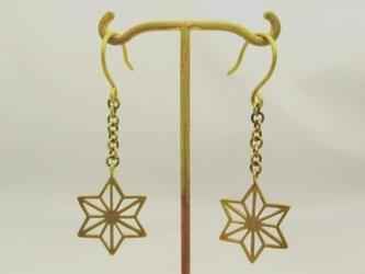 麻柄紋様フックピアス Long[真鍮] 両耳セットの画像
