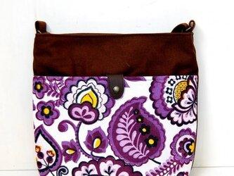 ヴィンテージファブリック x 帆布 レトロな斜め掛けショルダーバッグ( Violet Paisley)の画像